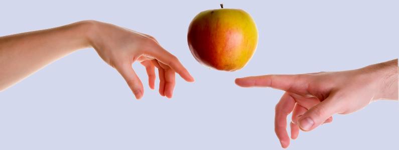 Foto artistica di due mani che si sfiorano con nel mezzo una mela che sembra essere sospesa