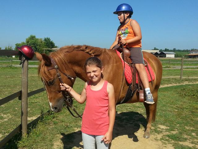 un bambino sta sopra un cavallo che viene tenuto per le briglie da una bambina
