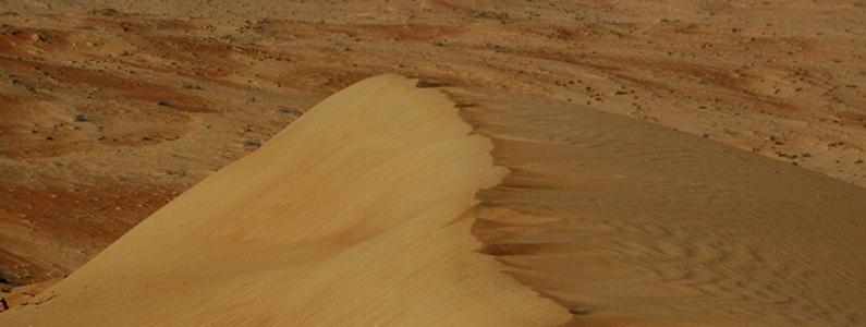 Primo piano di una duna del deserto dell'Oman