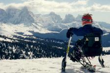 sciatore disabile su un monosci contempla dall'alto il paesaggio innevato della montagna
