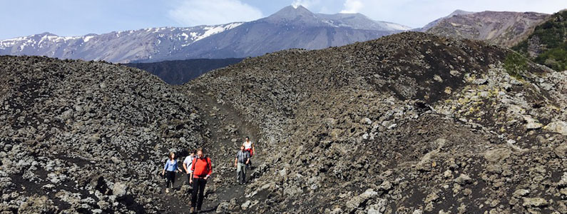 Un gruppo di escursionisti in fila su un sentiero