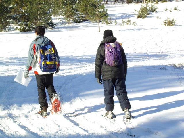 Due escursionisti procedono nella neve