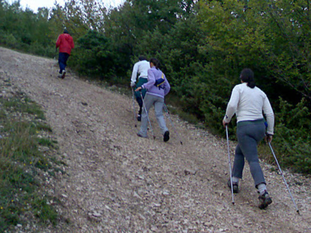 camminatori di nordic walking camminano in salita