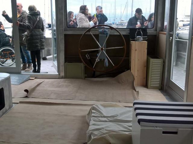 Il timone del Catamarano Elianto