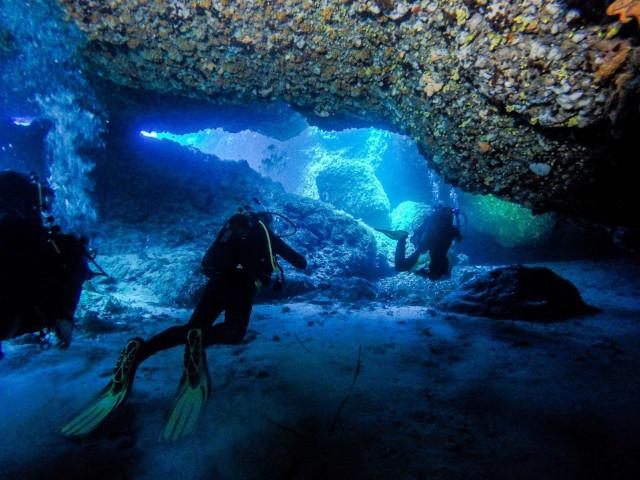 Sub in immersione esplorano I fondali azzurri